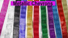 "Jacquard Ribbon 1"" (25mm) Metallic Chevron *Colors* 3 Yards & Up! FREE US SHIP"