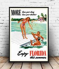 Enjoy Florida : Vintage USA Travel advertising, Wall art ,poster, Reproduction.