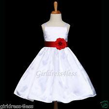 WHITE/APPLE RED SPAGHETTI STRAPS WEDDING FLOWER GIRL DRESS 12M 18M 2 4 6 8 10 12