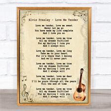 Elvis Presley Love Me Tender Song Lyric Quote Print