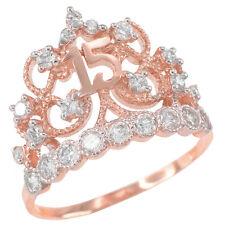 Princess 14k Rose Gold Quinceañera Anillo Filligree 15 Años Conora CZ Crown Ring