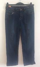 EX Ladies Blue Denim Mid Rise Slim Straight Stretchy Cropped Leg Jeans Size 6-16