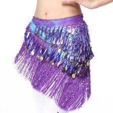 Belly Dance Wear Hip Scarf Coin & Sequin Belt Waist Dancer Wrap Skirt Outfit Red