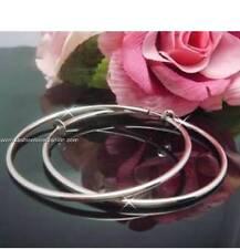 "1 Pair Spring ClipOn Hoop Earrings Silvertone Small:1/2"",13mm to XL:2 5/16"",60mm"