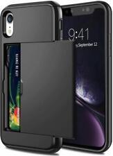 For iPhone XR Case - Wallet Armor Shockproof Card Holder Sliding Cover