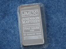 Johnson Matthey .999 Silver 10 Oz Ingot Bar BU Struck Type Ser# 441475 B6957