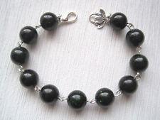 GREEN GOLDSTONE Unusual Gemstone Beaded Link Bracelet Lotus Charm Healing GIFT