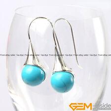 12mm Round Gemstone Beads White Tibetan Silver Hook Dangle Earrings Jewelry Gift