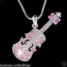 Pink w Swarovski Crystal ~Violin Viola Cello Fiddle Musical Pendant Necklace New