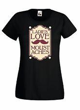 T-shirt Maglietta J667 Ladies Love Moustaches Beard Baffi Maglia Donna Cotone