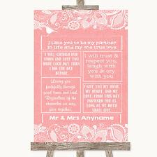 Wedding Sign Poster Print Coral Burlap & Lace Romantic Vows