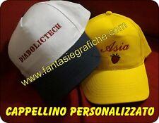 Cappellino cappello RICAMATO personalizzato stampato RICAMO