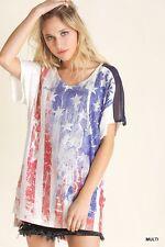 SeXy VoCal Flag USA Stars Stripes Stones Red White Blue Top Shirt S M L XL