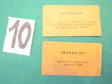Gioco MONOPOLI vintage in lire 2 CARTE IMPREVISTI n. 10