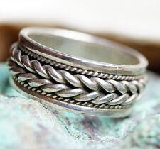 Breit 8 mm Bandring 56 69 Kordel Geflochten Silberring Silber Ring Zopf Schwarz