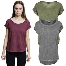 Urban Classics Ladies Long Back Shaped Spray Dye Tee Jersey Melange Women Shirt