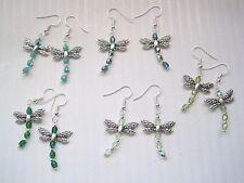 GREEN DRAGONFLY CZECH GLASS Beaded Drop Earrings Teal Peridot Emerald Turquoise