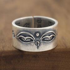 925 Sterling Silver Tibetan Buddhism Buddha Eyes Open Band Ring Jewelry A3280