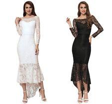 Women Elegant Lace Off Shoulder Fishtail Frill Evening Wedding Formal Long Dress