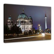 Leinwandbild - Berliner Dom und Fernsehturm bei Nacht