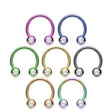 8pcs Front Gems Titanium IP Circular Barbell Horseshoe Lip Nipple Septum Ring