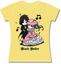 Black Butler Chibi Sebastian and Cross Dressing Ciel T-Shirt Yellow Women's NEW