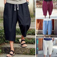 Men Casual Slim Sports Pants Calf-Length Cotton Linen Trousers Baggy Harem Pants