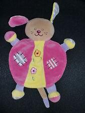 doudou plat chien lapin rose jaune violet brodé fleur AJENA