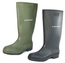 Mens Dunlop Wellingtons Boots Wellie Rubber Ladies Boys Waterproof Black Green