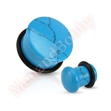 Turquoise Semi Precious Stone Dome Single Flare Ear Plug CHOOSE SINGLE OR PAIR