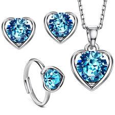14k Gold plt Auden Diamond cut Crystals Love Heart Ring Earrings Necklace Set