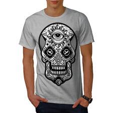 Wellcoda Sugar Skull Head Mens T-shirt, Face Graphic Design Printed Tee