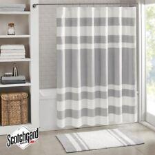 "Luxury Grey & White Striped Waffle Weave Fabric Shower Curtain - 72"" x 72"""