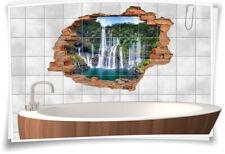 Fliesenaufkleber Fliesenbild Wanddurchbruch Natur Regenwald Wasserfall See