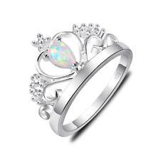 Gorgeous Silver Woman Romantic White Fire Opal Gems Silver Crown Rings Sz 7 8 9