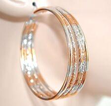 ORECCHINI CERCHI ORO ARGENTO donna eleganti dorati boucles earrings ohrringe 800