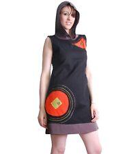boho hippie Túnica mini vestido camiseta larga con capucha negro/Naranja