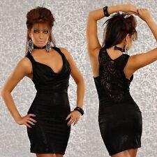 424 PROGRESS STUNNING CLUBBING PARTY STRETCH BODYCON SHINE BLACK DRESS SIZE S/8