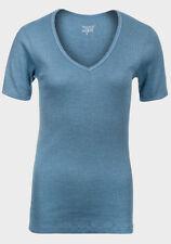 NEW - Ladies Petrol Blue T-Shirt, Ribbed, Stretch Cotton, V-Neck - Sizes S, M, L