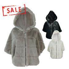 AMAVISSE UK - (RRP £60) Women Fashion Acrylic Fur Fleece Warm Cape Jacket Hood