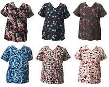 Life Line Women's Fashion Nursing Scrub Tops Printed Medical Uniforms S-XL