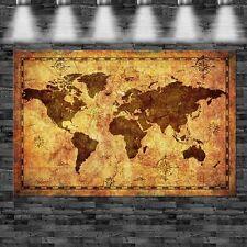 XXL Alte Weltkarte auf Papier 160cmx105cm auf Leinwand Keilrahmen Loft Bild Pop