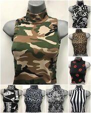 Ladies Women Turtle Neck Printed Sleeveless Stretch Crop Top Vest 8-14