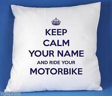 Keep Calm And Ride vos Moto satin luxe housse de coussin peut être personnalisée