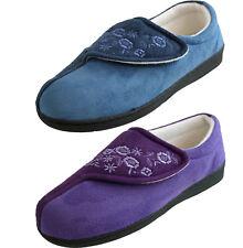 Jyoti Womens Luxury Wide fit EASY CLOSE  Memory Foam  Navy Lilac Slippers