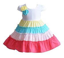 Cinda PREMIUM Melina CINCO color aro Niñas Algodón Vestido De Fiesta 9 12 18
