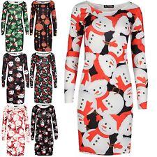 Ladies Christmas Bodycon Womens Xmas Santa Reindeer Snowman Hat Tree Mini Dress