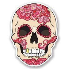 2 x Pink Sugar Skull Vinyl Sticker Laptop Travel Luggage Car #5199