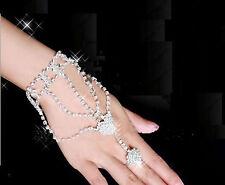 Sexy Bracciale Anello Baciamano donna Gioiello Rhinestone Slave Bracelet Women