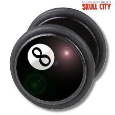 EIGHTBALL FAKEPLUG - Fake Piercing Picture Plug Ohrstecker - 8 Ball Billard